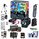 Canon EOS 80D DSLR Video Creator Kit EF-S18-135/3.5-5.6 IS USM Lens - Rode VIDEOMIC GO Mic, 32GB SD Card - Power Zoom Adapter Accessory Bundle