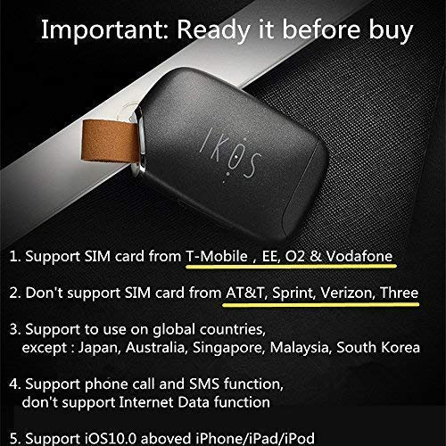 IKOS Bluetooth Dual SIM Adapter Compatible with Apple iPhone X 8 7 6S 6 Plus iPad iPod iOS System