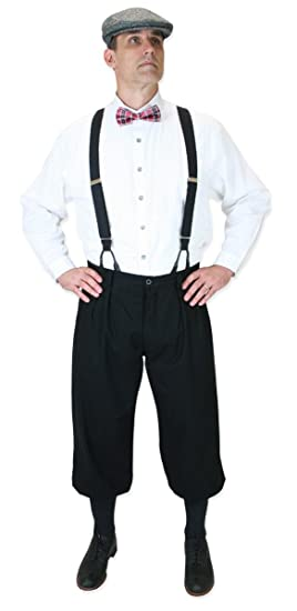Edwardian Men's Pants Black Cotton Blend Knickers $64.95 AT vintagedancer.com