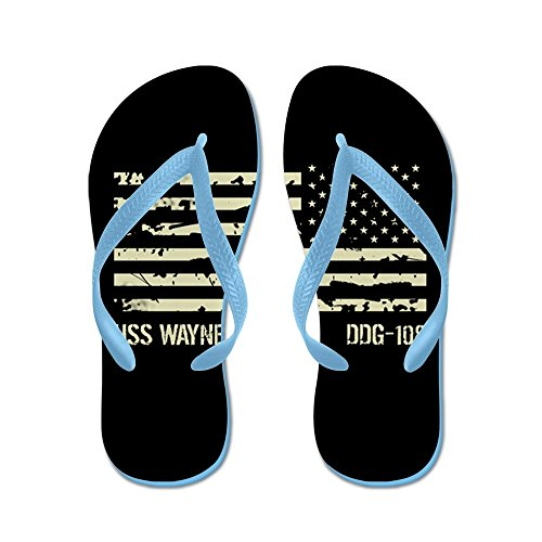 CafePress USS Wayne E. Meyer - Flip Flops, Funny Thong Sandals, Beach Sandals Caribbean Blue