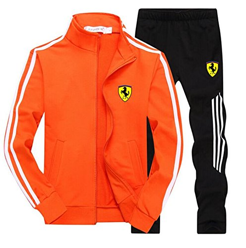 MeiMuSh Man TrackSuit Jogging Bottom Sport Jacket Suit Set Trousers Orange