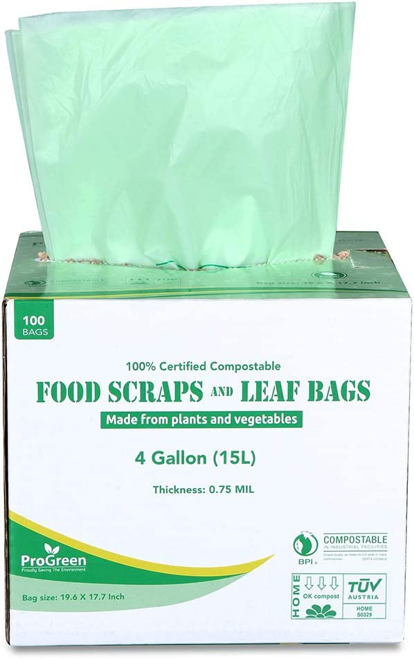 ProGreen 100% Compostable Bags 4 Gallon (15L), Extra Thick 0.75 Mil, 100 Count, Small Kitchen Trash Bags, Food Scraps Yard Waste Bags, ASTM D6400 BPI and TUV AUSTRIA Certified.