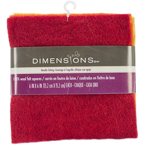 Dimensions Crafts 72-73993 Wool Felt Squares for Needle Felting, 6-Pack