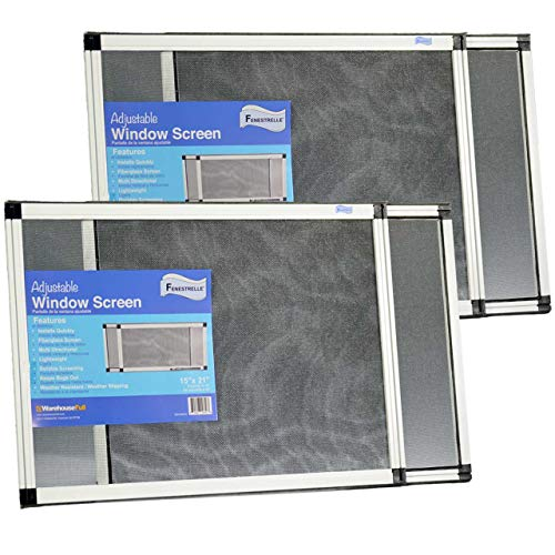 Fenestrelle Expandable Window Screen, 2 Way Adjustable, Horizontal (15h fits 21-40w) or Convert to Vertical (21h fits 15-28w), 2 Pack