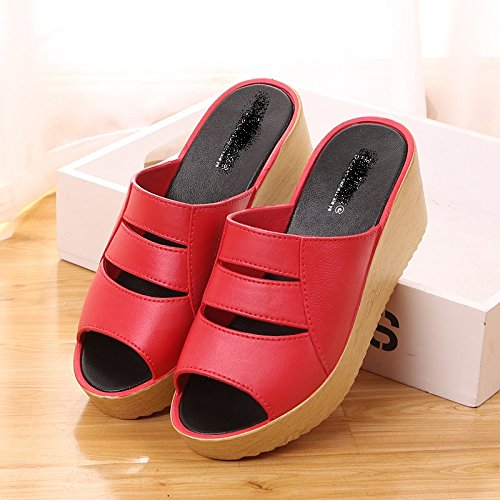 Verano fresco señoras zapatillas,36 Scarlet 40 Scarlet