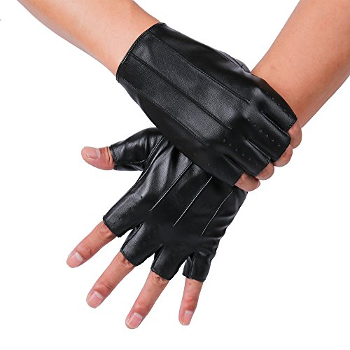 - JISEN Men PU Leather Punk Half Finger Snap Hole Performance Gloves Black