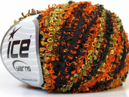Spooky Soft Boucle with Sparkle - Orange, Black, Green