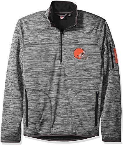 G-III Sports NFL Cleveland Browns Men's Fast Pace Half Zip Pullover Top, Heather Grey, Medium