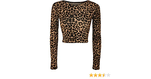 4cc165f29d9 GirlsWalk Women s Long Sleeves Leopard Print Stretchy Short Crop Top at  Amazon Women s Clothing store
