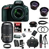 Nikon D5500 DSLR Camera (Black) with 4 Lens Kit: 18-55, 55-300 VR, and 52mm Wide & Tele Lenses plus Filters & 64GB Accessory Bundle