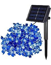 KINGCOO- Guirnalda de luces solares de flor para exteriores, impermeable, 4,8 m, 20 luces LED para decoración de jardines, hogares, bodas, Navidad, fiestas, vacaciones, etc.