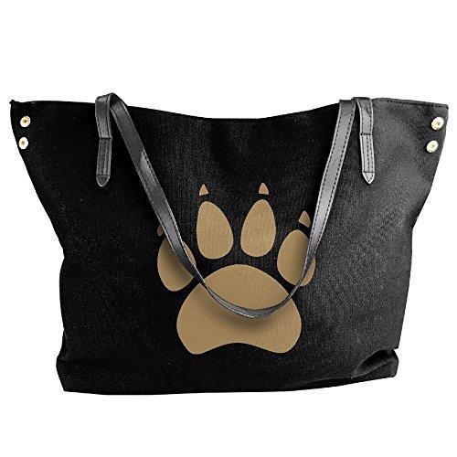 Women's Large Tote Dog's Hobo Canvas Black Handbag Shoulder Bag Paw rvxrwU
