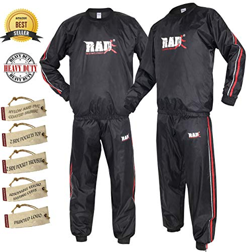 RAD Premier Quality Heavy Duty Sauna Sweat Suit for Weight Loss Gym Exercise Non Rip Sauna Suit Fitness (Red, XL)