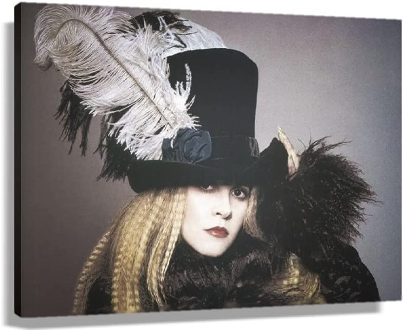 Stevie Nicks Famous Singer Fashion Poster Room Decor Wall Art Canvas Decorations Print Artwork Kitchen Photos Artwork for Home Picture Gifts Giclee Oil Paintings for Bathroom Rectangle Canvas (24x16inch(60x40cm),Unframed)