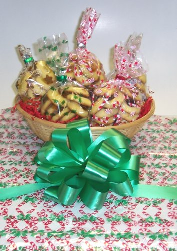 Butter Cookie Lovers Basket with no Handle Candy Cane Wrapping ()
