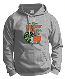 60th Birthday Gift For Him Funny Gifts All Hookin Fish 60 Years Hoodie Sweatshirt 2XL Ash Apparel