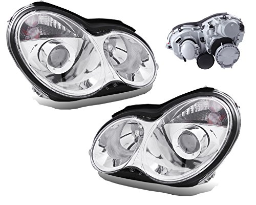 SPPC Projector Headlights Chrome Assembly Set for Mercedes-Benz C Class W203 - (Pair) Includes Driver Left and Passenger Right Side Replacement Headlamp