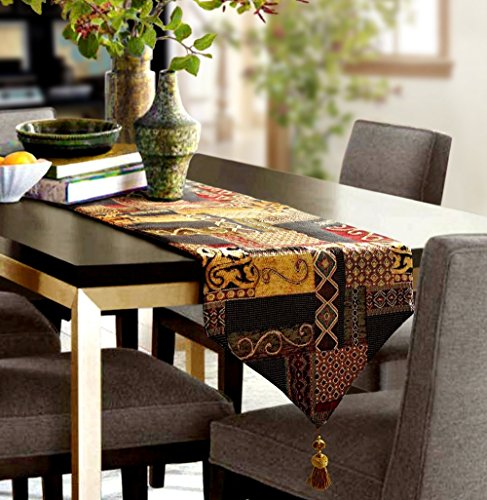 """Artbisons Table Runner Gold Illusion 72x13"""" Thickly Fashion"""