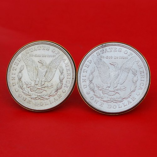 US 1921 Morgan Silver Dollar BU Uncirculated Gold Cufflinks NEW - REVERSE + REVERSE by jt6740