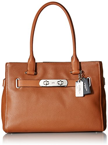 Womens Polished Leather Swagger Satchel