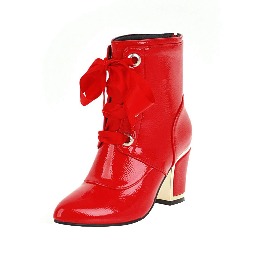 YE Bottines Vernis Femme à Lacets Winter 13421 Zip Courtes Talon Haut Bloc Chunky Heels Ankle Boots Bottes Courtes Chaude Hiver Winter Shoes Rouge bfad28b - boatplans.space