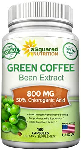 100% Pure Green Coffee Bean Extract - 180 Capsules - Max Strength Natural GCA Antioxidant Cleanse for Weight Loss, 800mg w/ 50% Chlorogenic Acid per Pill, 1600mg Daily Supplement, Healthy Fat Burner