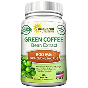 100% Pure Green Coffee Bean Extract 180 Capsules Max Strength Natural GCA Antioxidant Cleanse for Weight Loss, 800mg w/ 50% Chlorogenic Acid per Pill, 1600mg Daily Supplement, Healthy Fat Burner