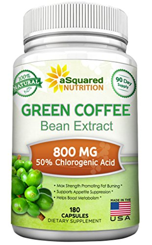 100% Pure Green Coffee Bean Extract - 180 Capsules - Max Strength Natural GCA Antioxidant Cleanse for Weight Loss, 800mg w/ 50% Chlorogenic Acid per Pill, 1600mg Daily Supplement, Healthy Fat Burner ()