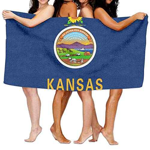 (Kansas Flag Microfiber Beach Towel, Oversized Bath - Multi Purpose Towels for Pool, Sport, Yoga, Camping, Swimming (Pink, 31 X 51 Inches))