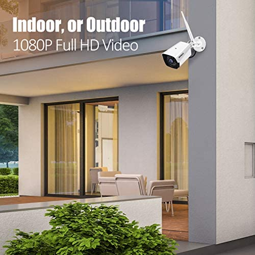 [Expandable, Audio] SANSCO 1080P Wireless Security Camera System, 8CH DVR 4Pcs 2MP HD CCTV WiFi Outdoor/Indoor Waterproof Camera with Mic, Night Vision, Motion Alert, Remote Access, No Hard Disk 51TfObY 2BHBL
