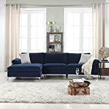 Divano Roma Furniture Modern Large Velvet Fabric Sectional Sofa, L-Shape Couch Extra Wide Chaise Lounge (Navy)
