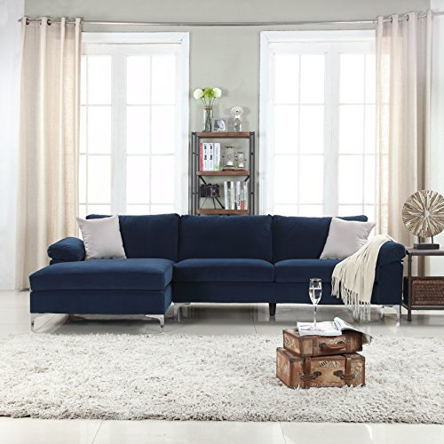 Divano Roma Furniture Modern Large Velvet Fabric Sectional Sofa, L-Shape Couch with Extra Wide Chaise Lounge (Navy)