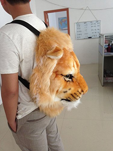 Head and bag Lion Plush head Bag Wall Lion Head Backpack tiger Animal shoulders 3D Animal leopard Mount Knapsack black Backpack Bag Backpack bear 11p4PZwq