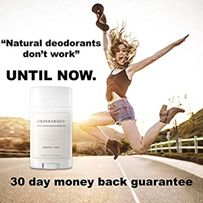 Natural Aluminum Free Deodorant Stick (That Works!) Jasmine/Rose - Stay Fresh All Day - Underarmed for Women & Men - Organic, Healthy, Safe, Non Toxic - Phthalate, Paraben, Gluten & Cruelty Free