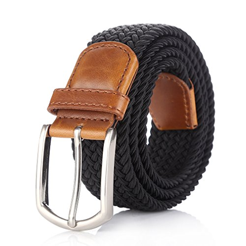 Weifert Elastic Braided Belt Big & Tall Available Stretch Woven Belts (XXL(46-48), Black)
