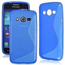 "4.5"" Galaxy Core LTE SM-G386W G386T G386F Samsung TPU Cover , Skypillar® Flexible Soft Silicone Rubber Case - Blue"