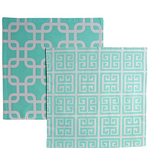Greek Link (Reversible Table Topper Set- The Crabtree Collection (Turquoise Greek Key/Links))