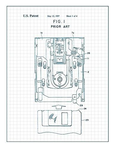 Floppy Disk Patent Print Art Poster Blue Grid