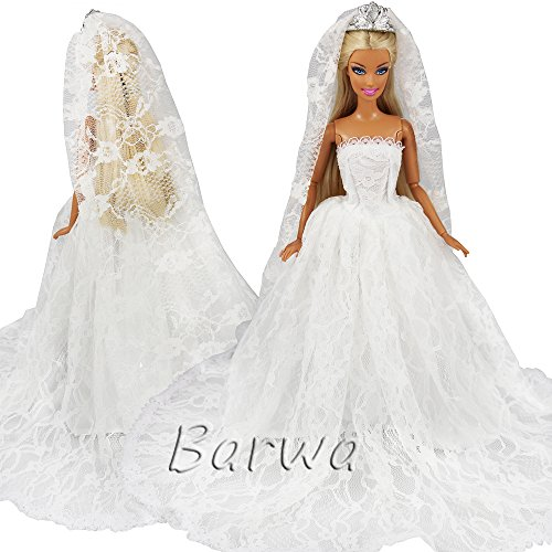 Barwa White Wedding Dress with Long Veil Evening Party Princess White Lace Gown Dress for Barbie Doll (Lace Barbie)