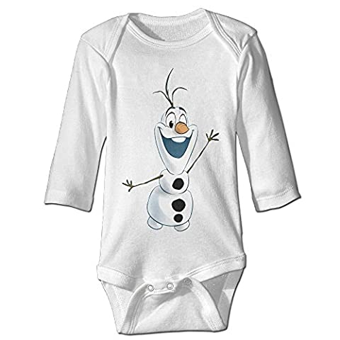 White Olaf Frozen Funny Toddler Long Sleeve Baby Girls' Baby Onesie (Olaf Wall Mural)