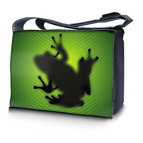 Luxburg® Design bolso bandolera de mensajero, de escuela bolso para portátil ordenadores Laptop Notebook 15,6 pulgadas, motivo: Hombres multicolores Silueta de rana