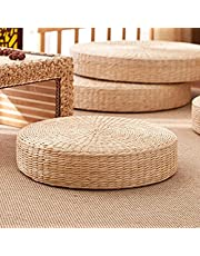 Comfortable Round Hand-Woven Floor Cushion - Natural Straw Pouf Tatami Cushion - Round Tatami Seat Cushion, for Meditation for Zen