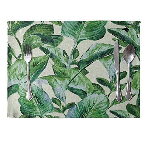 AOBRITON Placemat 4 PcsDining Table Mat Green Leaves Pattern Western Pad Cotton Linen Insulation Bowls Coasters Kitchen Accessories 42x32cm