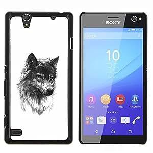 Lobo perro de mascota Colmillo Negro bosquejo blanco- Metal de aluminio y de plástico duro Caja del teléfono - Negro - Sony Xperia C4 E5303 E5306 E5353