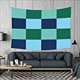 smallbeefly Navy and Teal Customed Widened Tapestry Aquatic Colored Squares with Old Fashioned Polka Dots Retro Style Maritime Wall Hanging Tapestry 90''x60'' Multicolor