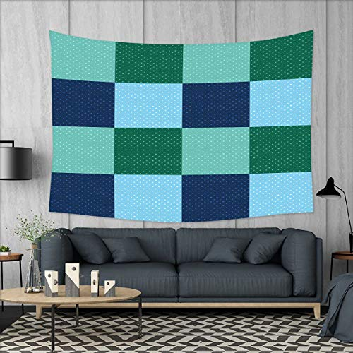 smallbeefly Navy and Teal Customed Widened Tapestry Aquatic Colored Squares with Old Fashioned Polka Dots Retro Style Maritime Wall Hanging Tapestry 90''x60'' Multicolor by smallbeefly