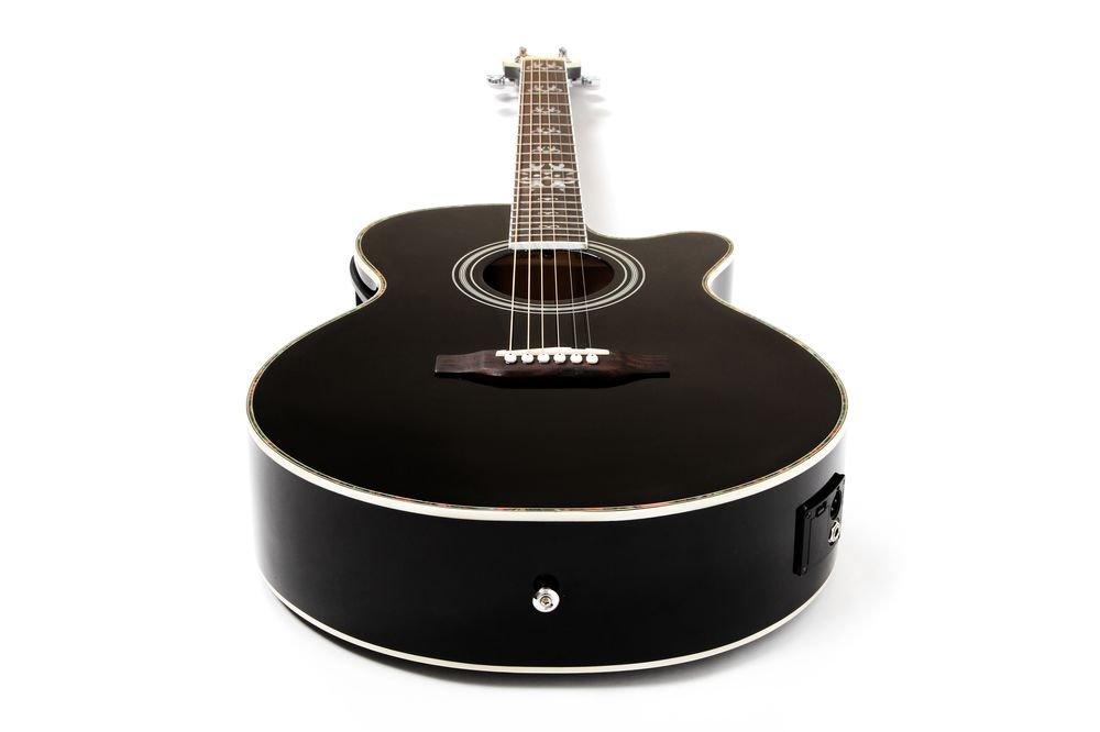 Lindo Black Fire - Guitarra electroacústica con LCD sintonizador XLR/bolsa y completo Pack de accesorios (funda, soporte, cuerdas, correa, 10 púas, DVD, ...