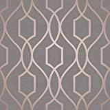 Apex Geometric Trellis Wallpaper Charcoal Grey and Copper Fine Decor FD41998