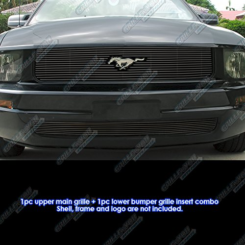 APS Compatible with 2005-2009 Ford Mustang V6 Logo Show Black Billet Grille Grill Combo Insert (Grille Ford Main Mustang)