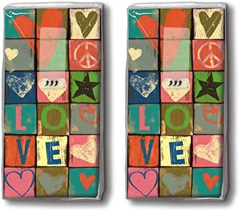 20 Taschentücher (2x 10) Love and Peace / Liebe / Herzen / Motivtaschentücher